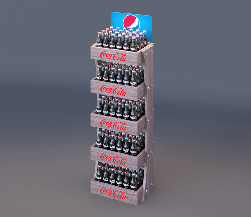 Wooden Coca-Cola Five Layer Display Shelf