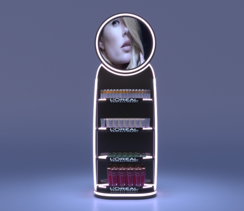 Professional Acrylic Makeup Floor Display Stand With LED